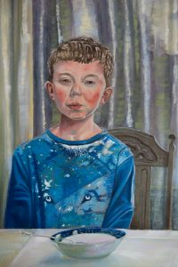 Owen, detail of portait of Catherine Stephenson and her two sons, by Canadian Portrait Painter Stephen James Kerr