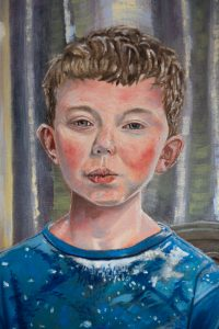 Owen, detail from portrait of Catherine Stephenson and her two sons, by Canadian portrait painter Stephen James Kerr