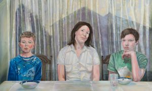 "portrait of Catherine Stephenson and her two sons, oil on wood panel, 24X36"", by Canadian portrait painter Stephen James Kerr"