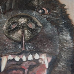 oil painting of a vicious dog snarling