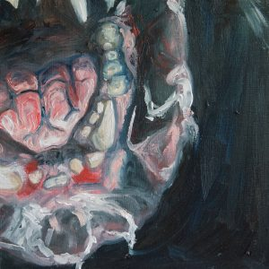 oil painting of a vicious dog's mouth
