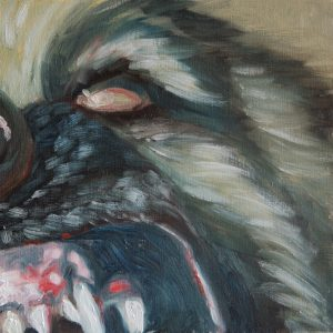 oil painting of a snarling German Sheppard Dog