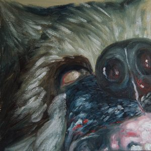 oil painting of a rabid German Sheppard Dog