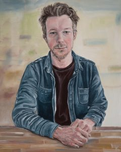 "Portrait of Kevin Konnyu, oil on wood panel, 8""X10"""