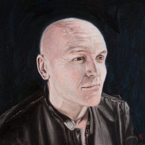 Oil self portrait of Stephen James Kerr 8 inch square on wood panel
