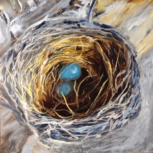 oil painting of a robin's nest by Pat Maas